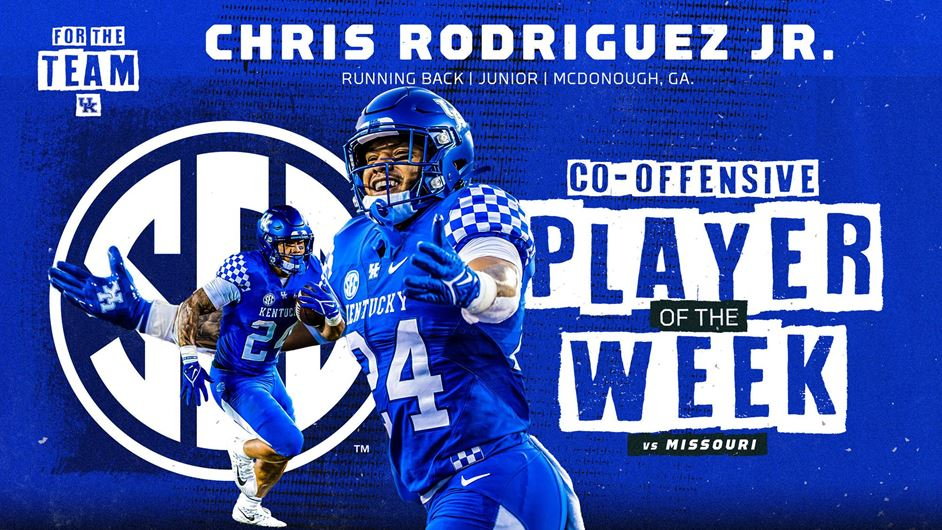 Chris Rodriguez Jr. Named Co-SEC Offensive Player of the Week